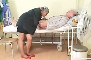 Sexy young nurse gives blow job to an old pig in hospital - 22:48