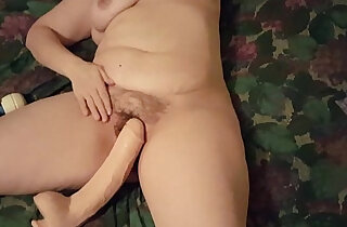 My wife using huge dildo and her vibrator for a good orgasm - 3:59