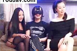 Lucky Chinese Guy fucking Japanese Korean girls in Black - 53:23