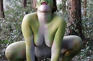 Stark naked Japanese fat frog lady in the swamp HD - 4:34