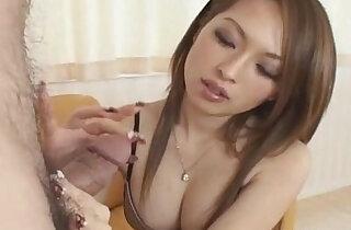 Hot Japanese babe gives tit job follwed by cumshot Uncensored - 6:36
