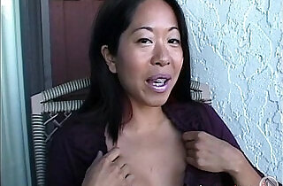 Asian Mame flashing natural boobs on a balcony in Canada - 2:07