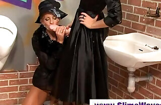 Cum drenched babes at gloryhole - 5:58
