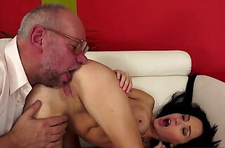 Russian Sandra Luberc is seducing a grandpa and gives a bj - 6:30