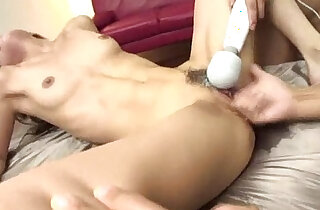 Trimmed and horny Aya has her pussy up with fingers while her clit is toyed - 5:36