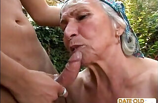 Granny Gets Reamed By Young Stud Outdoors - 24:13