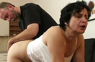 Granny in white lingerie swallowing two cocks after pussy toying - 6:41