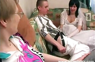Mother, son and horny daughter in wedding dress in action - 19:56
