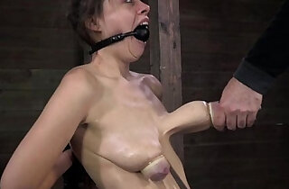 Ballgagged BDSM fetish sub tits pumped - 7:19