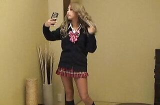 Japanese suntan teen MIRANO switches to super mini skirt uniform - 3:05